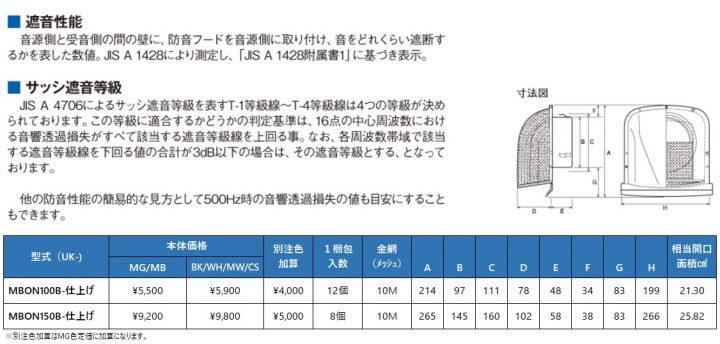 uk-mbon100b,uk-mbon150b,M型フード付ガラリ